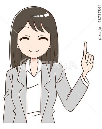 スーツを着て指をさしている笑顔の女性の上半身 68737344