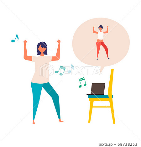 オンラインフィットネスでダンスする女性のイラスト 68738253