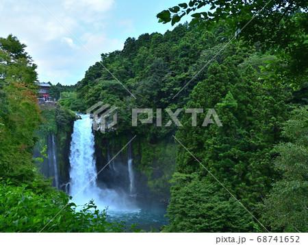 勢いよく流れ落ちる富士宮市音止の滝を正面の林から望む風景 68741652