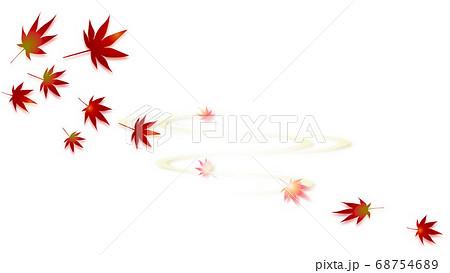 秋らしい風景の紅葉と波紋のイラストワイドバーチャル背景素材 68754689