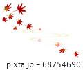 秋らしい風景の紅葉と波紋のイラスト背景素材 68754690