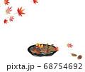 紅葉と竹細工の丸いカゴに秋の実りどんぐりや栗のイラス背景素材 68754692