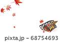 紅葉と竹細工のカゴに秋の実りどんぐりや栗のイラストワイドバーチャル背景素材 68754693