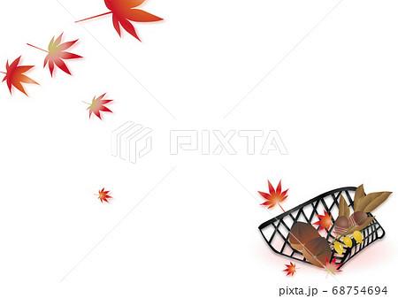 紅葉と竹細工のカゴに秋の実りどんぐりや栗のイラスト背景素材 68754694