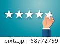 hand giving five star rating. feedback concept vector illustration 68772759