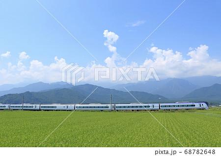 大糸線 夏の田園を行く特急あずさ 68782648
