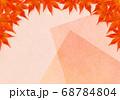 上部のみ赤い紅葉のフレーム ピンクの重ね和紙 68784804