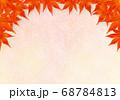 上部のみ赤い紅葉のフレーム 金混じり桃色和紙 68784813