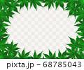 緑色の紅葉のフレーム グレー市松 68785043