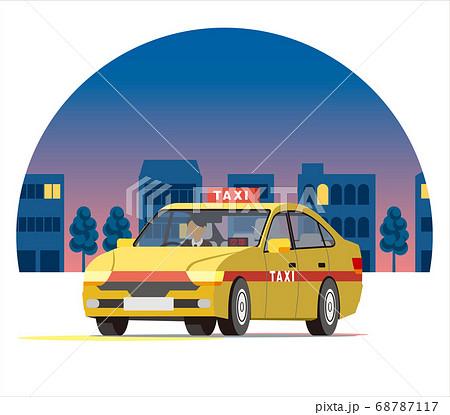 夜の街を走るセダンのタクシー、営業運行、配車、空車 68787117