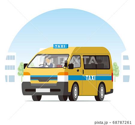 街を走るワンボックスタクシー、営業運行、配車、空車 68787261
