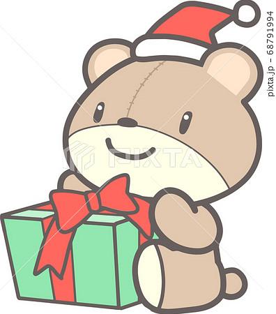 クリスマスプレゼントを持つクマのぬいぐるみ 68791994