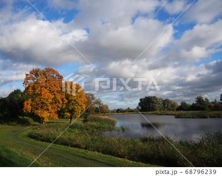 川沿いの秋の風景 グダニスク ポーランド 68796239