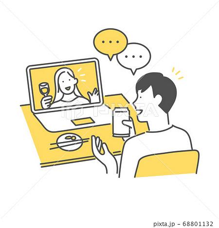 恋人とビデオ通話で会話をする男性 68801132