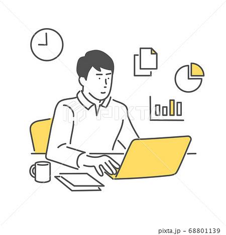 自宅で仕事をする男性 68801139