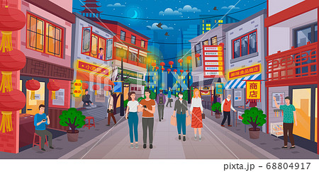 Chinatown with tourists and Chinese sellers. Walk along the Chinese streets. Bright design 68804917