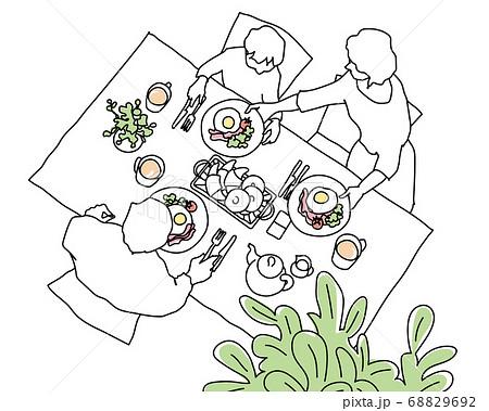 家族で朝食 俯瞰 線画 68829692
