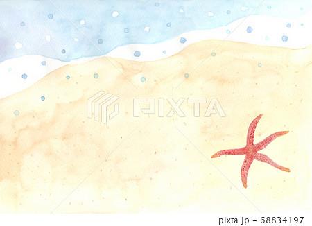 ヒトデのいる砂浜の風景の水彩画 68834197