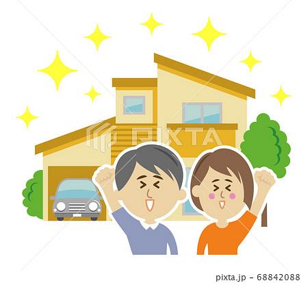 新居を購入した夫婦のイラストイメージ 68842088