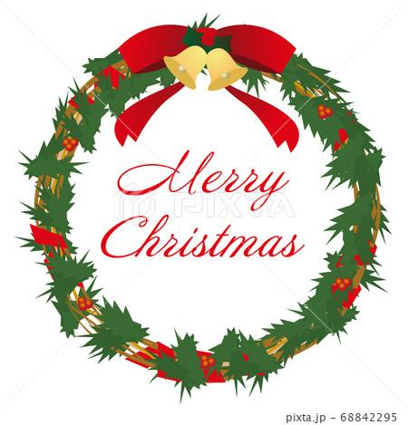 赤いリボンのクリスマスリース(Merry Christmas 文字入り) 68842295