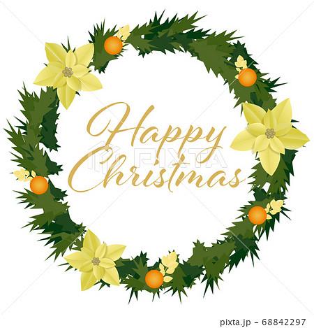 金色のポインセチアのクリスマスリース(Happy Christmas 文字入り) 68842297