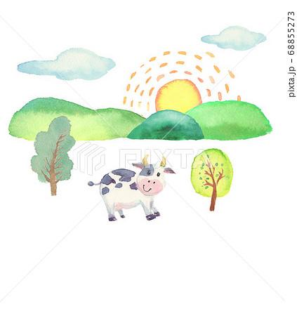 水彩で描いたかわいい牛のイラスト 68855273