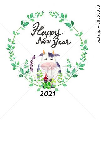 水彩で描いたかわいい牛の年賀状 68855383