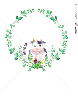 水彩で描いたかわいい牛のイラスト 68855384