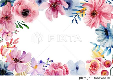 水彩絵具で書かれた 花 色鮮やか 背景 テキスト 円 68858816