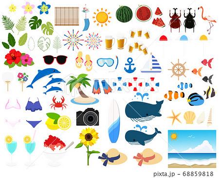イラスト素材 夏 アイコンセット 南国 海水浴 シーズン ベクター 68859818