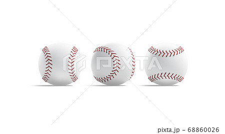 Blank white baseball ball with red seam mockup, front side 68860026