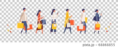 人們去秋天購物的插圖 68868855