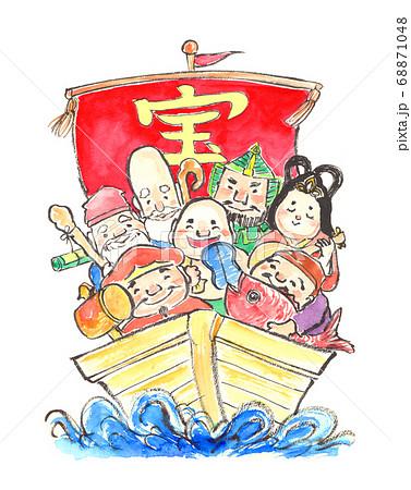 水彩で描いた宝船に乗った七福神のイラスト 68871048