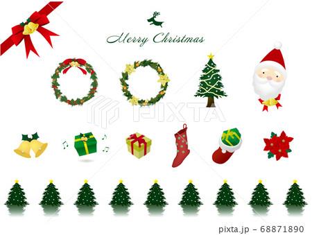 クリスマス用のイラスト素材セット(リース・ツリー・サンタ・プレゼントボックスほか) 68871890