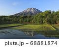 北海道倶知安町の水田と羊蹄山 68881874