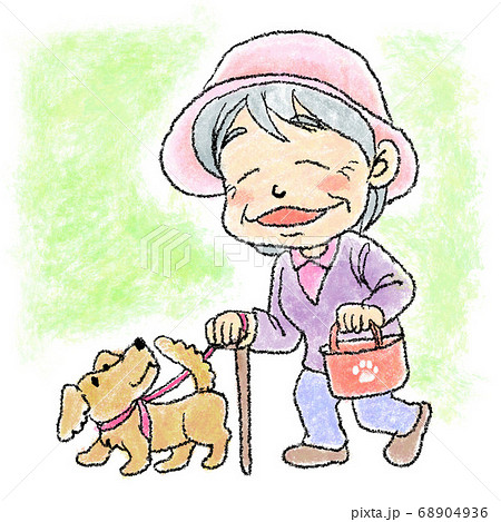 犬の散歩をするおばあちゃん 68904936