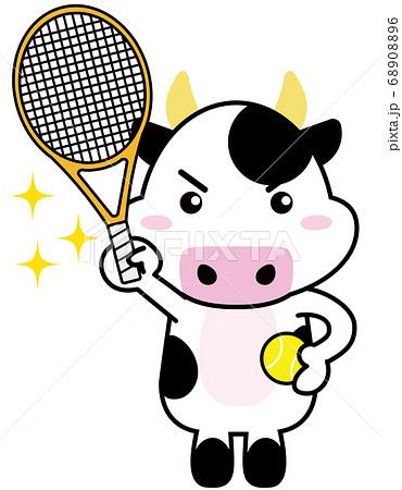 牛06_24(スポーツ・キラキラ・テニスラケットを持つ牛さん) 68908896