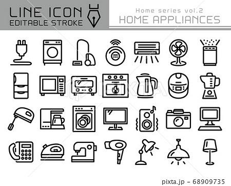ラインアイコン ホームシリーズvol.2 家電 電化製品 68909735