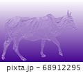 インドの聖牛 瘤ウシ(浅彫加工・紫) 68912295