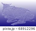 ヒンズー教の聖牛 インドの瘤ウシ(浅彫り加工) 68912296