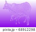 瘤うしの親子(浅彫り加工 紫) 68912298