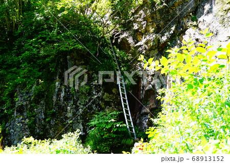 焼岳 上高地ルート登山道の長い梯子 68913152