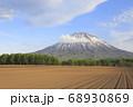 北海道倶知安町で撮影した畑と新緑の林と羊蹄山 68930869