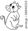 牛のイラスト 線画 68946325