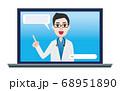 オンライン診療 ノートパソコン 男性医師 68951890