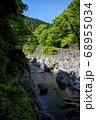 新緑の鳩ノ巣渓谷 谷底の岩が露出した多摩川の流れ 68955034