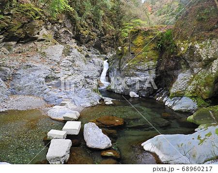 渓流の段差部で滝のように流れ落ちる急流 68960217