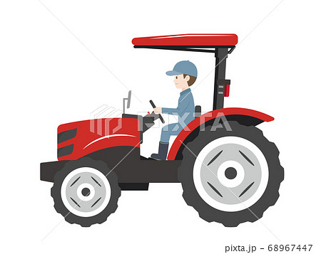 トラクターを運転する男性のイラスト 68967447