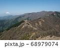 神奈川愛甲郡の丹沢エリアにある塔ノ岳のヤビツ峠ルート上から観える鳥尾山荘と富士山と青空 68979074