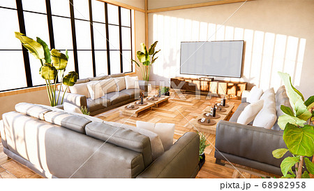sofa and cabinet in japanese living room on white 68982958